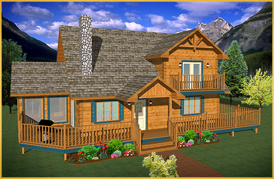 log home 3d rendering linden model