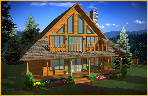 log home 3d rendering mimosa model