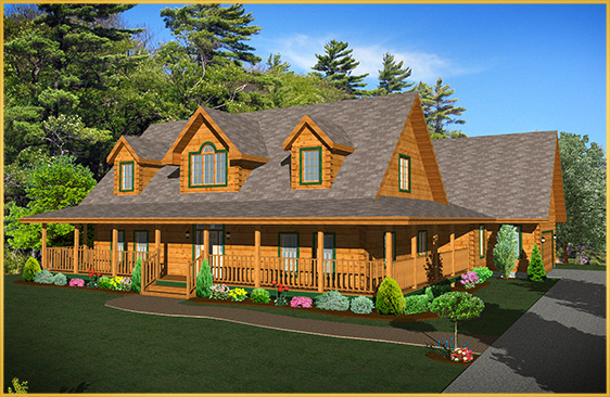 log home 3d rendering petersburg model