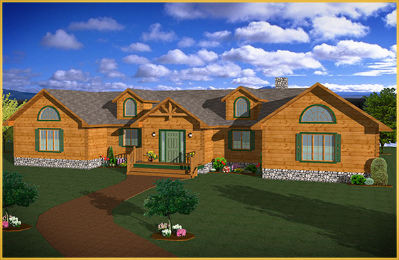 log home 3d rendering sycamore model