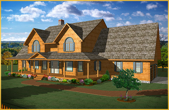 log home 3d rendering williamsburg model