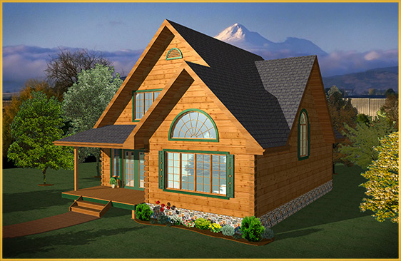 log home 3d rendering willow model