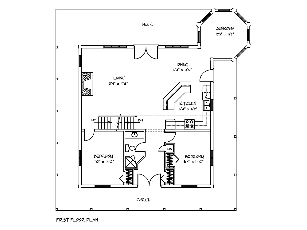 Cottonwood Log Cabin First Floor Blueprint