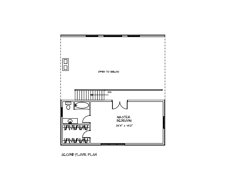 Cottonwood Log Cabin Second Floor Blueprint