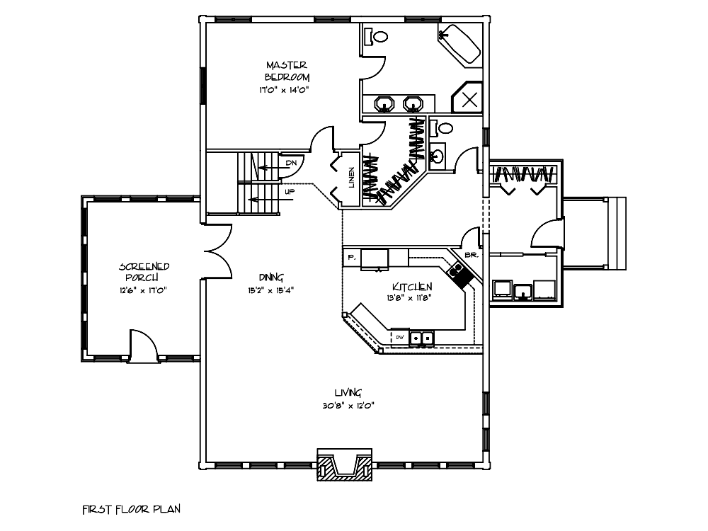Hawthorn Log Home First Floor Plan