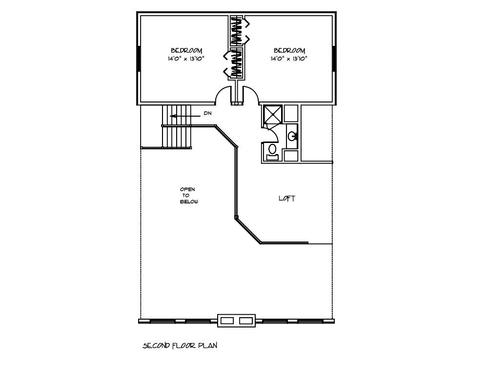 Hawthorn Log Home Second Floor Plan