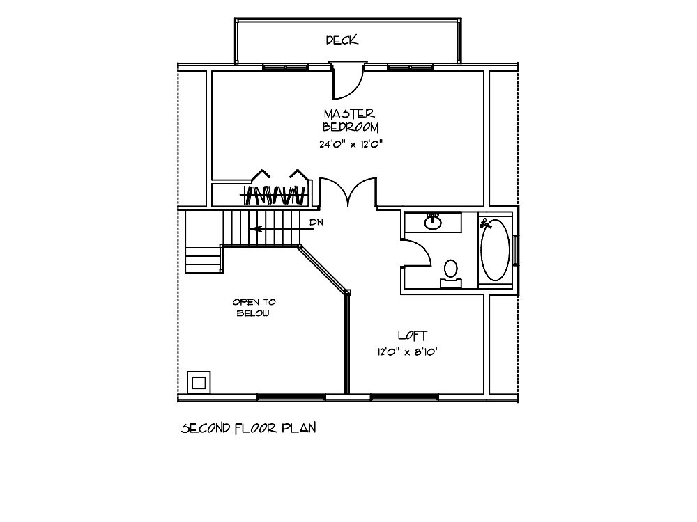 Juniper Log Home Second Floor Plan