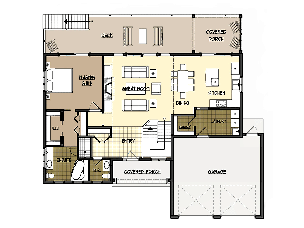 Lakeridge Log Home First Floor Plan