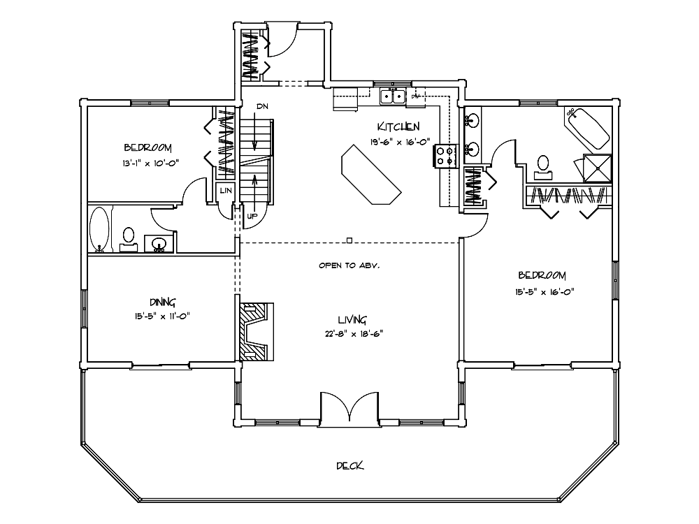 Lakeview Log Home First Floor Plan