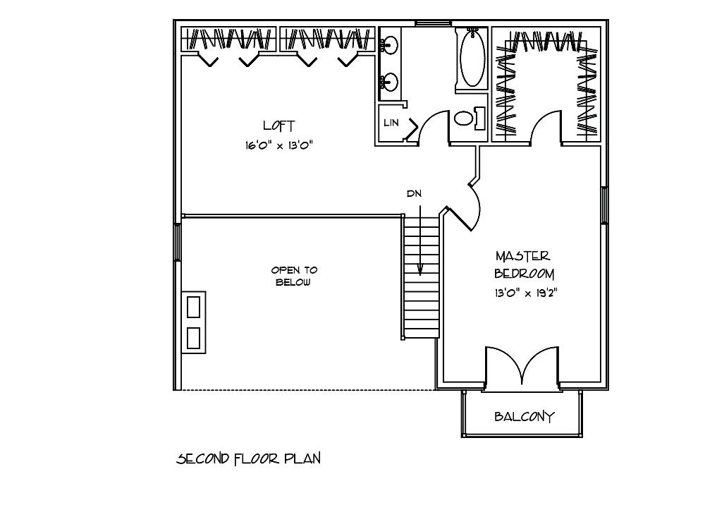 Linden Log Home 2nd Floor Plan