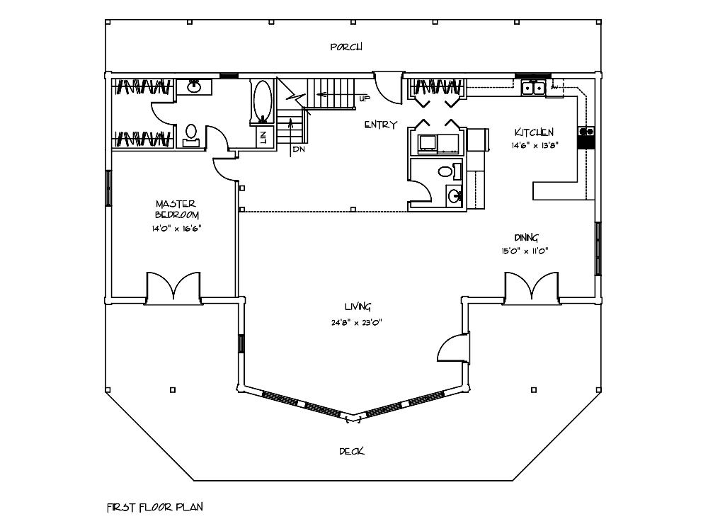 Mulberry Log Home Fisrt Floor Plan