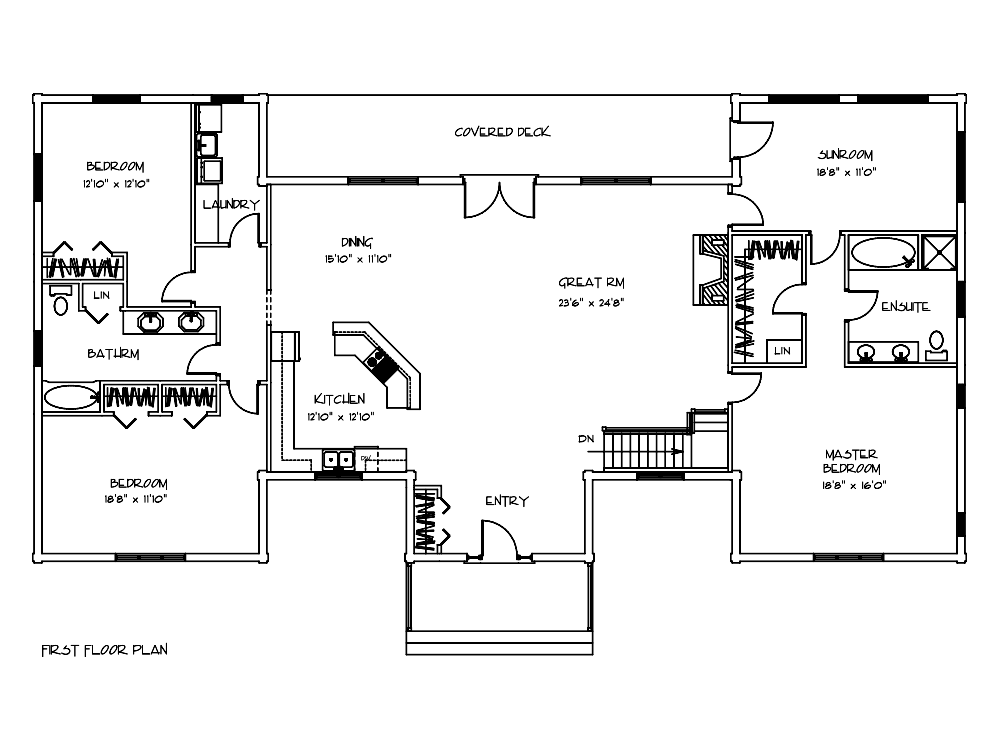 Sycamore Log Home Floor Plan - Bedrooms and Sunroom